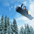 Stock Photo: Mountain-skier jump