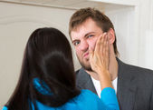 Upset woman slap her partner — Stock Photo