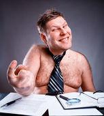 Freak shirtless businessman — Stock Photo