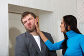 Female slap her partner — Stock Photo