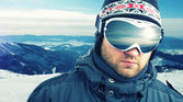 Mountain-skier closeup — Stock Photo