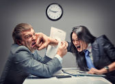 Mad fight of business people — Foto de Stock