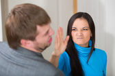 Woman about to slap her partner — Stock Photo