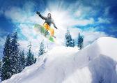 Snowboarder  jump — Stock Photo