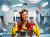 Housewife on the kitchen — Stock Photo