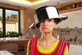 Crazy housewife with sause pan — Stock Photo