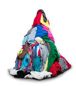 Big heap of colorful clothes — Stok fotoğraf