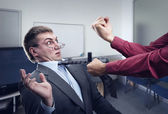 Big fight in office room — Stock Photo