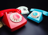 Three old telephones — Stock Photo