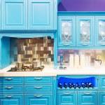 Blue modern kitchen interior design — Stock Photo