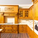Wood brown kitchen interior design — Stock Photo