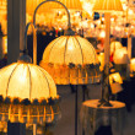 Table luxury lamp, yellow colors — Stock Photo