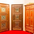 Classic interior and front wooden doors — Stock Photo