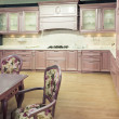Wood beautiful custom kitchen interior design — ストック写真