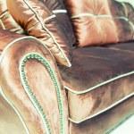 Velvet pillows on the brown sofa — Stock Photo #49317759