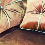 Velvet pillows on the brown sofa — Stock Photo #49317985