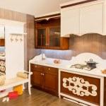 Wood beautiful custom kitchen interior design — Stock Photo