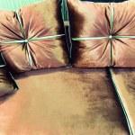 Velvet pillows on the brown sofa — Stock Photo #49318085