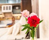 在丰富多彩的室内花卉的花瓶 — 图库照片