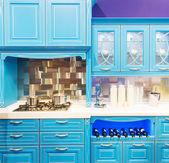 Blue modern kitchen interior design — ストック写真