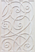 Wooden decorated facade of furniture — Stock Photo