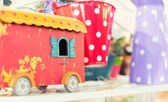 Closeup picture of red bus toy — Stock Photo