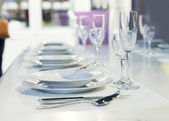 Served fashion table in white colors — Stock Photo