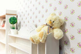 Beautiful wooden cupboard in children's room — Stock Photo