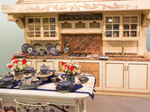 Luxury kitchen with kitchen tools — Stock Photo