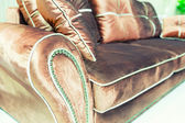 Velvet pillows on the brown sofa — Stock Photo