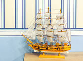 Close up shot of sail ship model — Stock Photo