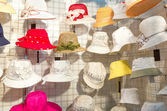 Colorful female summer hats — Stok fotoğraf