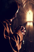 Monk at church — Stock Photo
