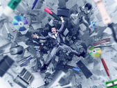 Businessman falling into office chaos — ストック写真