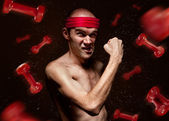Funny geek shows his muscles — Foto Stock