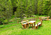 Wooden benches and table — Stockfoto