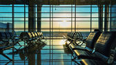 Benches in   airport — Stock Photo