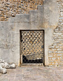 Old door in a stone wall — Stock Photo