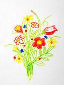 Nice bouquet of flowers drawing — Foto de Stock