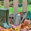 Stock Photo: Boots and gardening tools fall