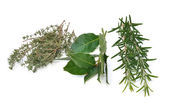 Rosemary, thyme and bay leaves — Stock Photo