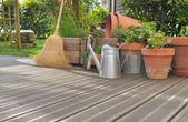 Various accossories on wooden deck — Stock Photo
