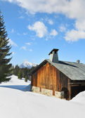 Cottage covered with snow — Stock Photo
