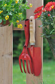 Autumnal flowers and tools — Stock Photo