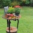 Gardening table for potting — Stock Photo