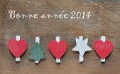 Christmas decoration on wood background — Stock Photo