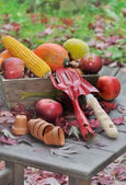 Fruits and vegetables with tools — Stock Photo