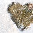 Heart in the snow — 图库照片