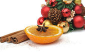 Orange and spices for Christmas — Stock Photo