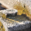 Frost on piece of metal — Stock Photo